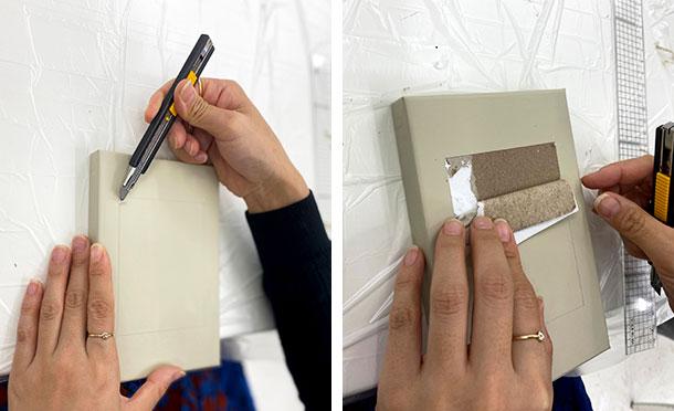 切り込みのある角にカッターナイフの刃先を差し込み、めくるようにして表面の上紙をひっぱりながらめくります