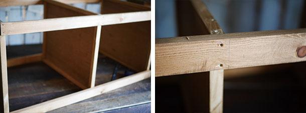 棚板が中央に来るようにしるしをつけて木ねじで固定