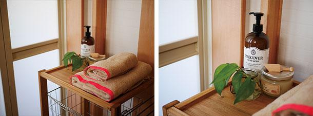 天板の上はタオルやケア用品、着替えなどを置けるスペースにしました