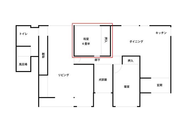 家の間取り図で見てみると下記の赤線で囲った場所です。