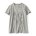 モノクロプリントTシャツ〈植物研究〉