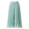 IEDIT[イディット] 吸汗速乾裏地が付いた小柄プリントが上品な プリーツスカート見えパンツ〈ミントグリーン〉