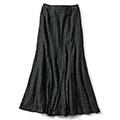IEDIT[イディット] 接触冷感裏地で涼やか 一枚でぜいたく感たっぷりな すそフレアーレースロングスカート〈ブラック〉