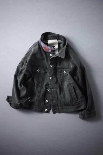 MEDE19F 古着加工のオーバーサイズGジャン〈ブラック〉