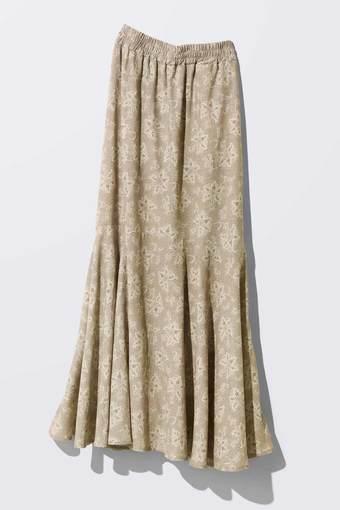MEDE19F ミュルーズモダン〈「ミュルーズ染織美術館」アーカイブコレクション〉 ヴィンテージパターンプリント マーメイドスカート〈ベージュ〉