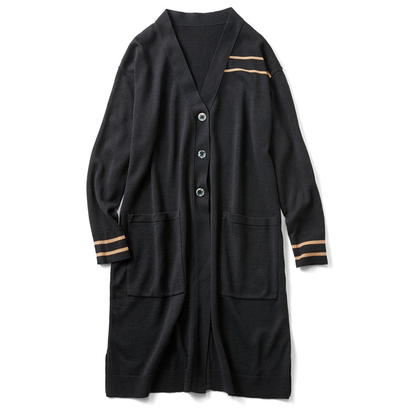 HIROMI YOSHIDA. ウール混のラインニットロングカーディガン〈ブラック〉