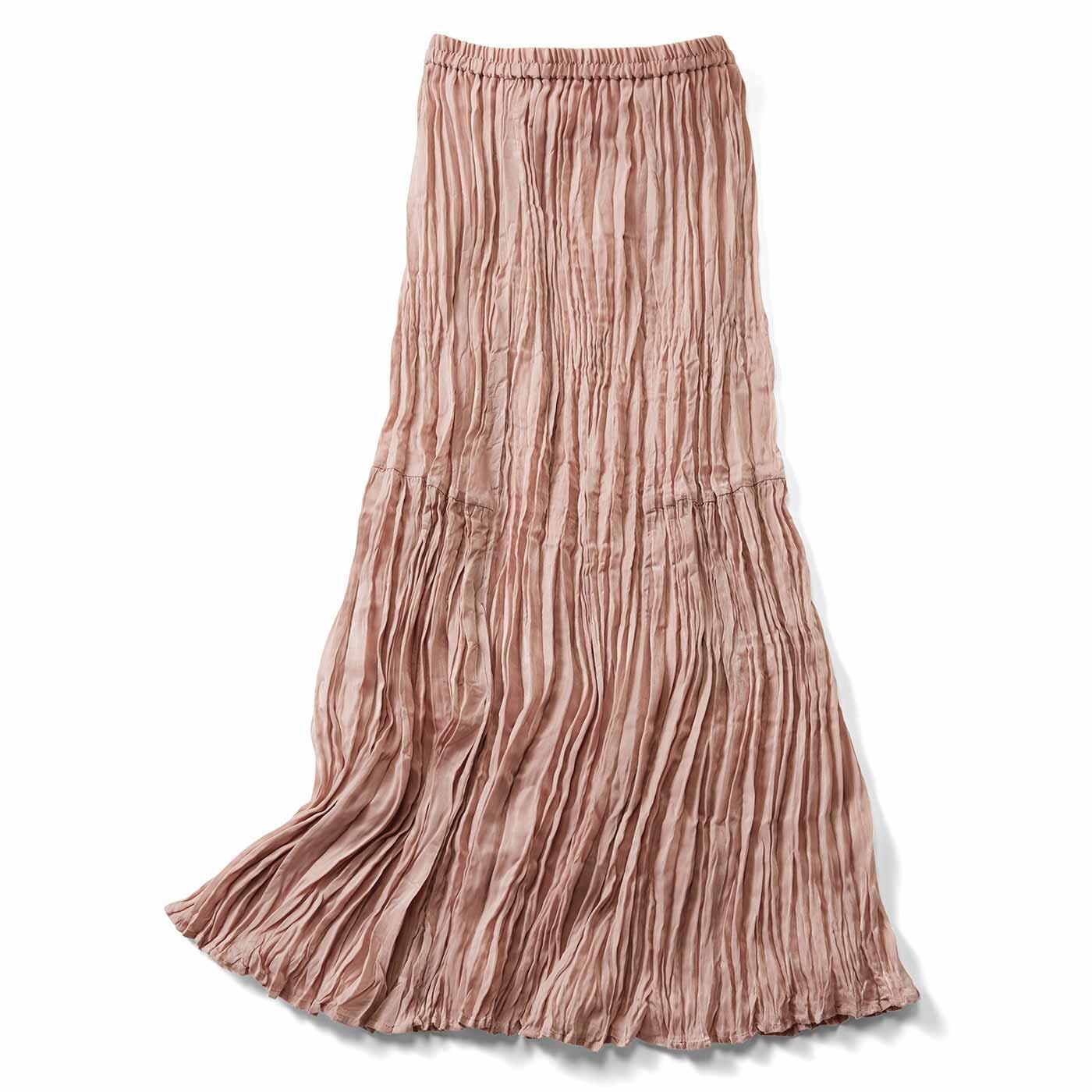 IEDIT[イディット] ワッシャー加工が美しい 切り替えマキシスカート〈スモーキーピンク〉