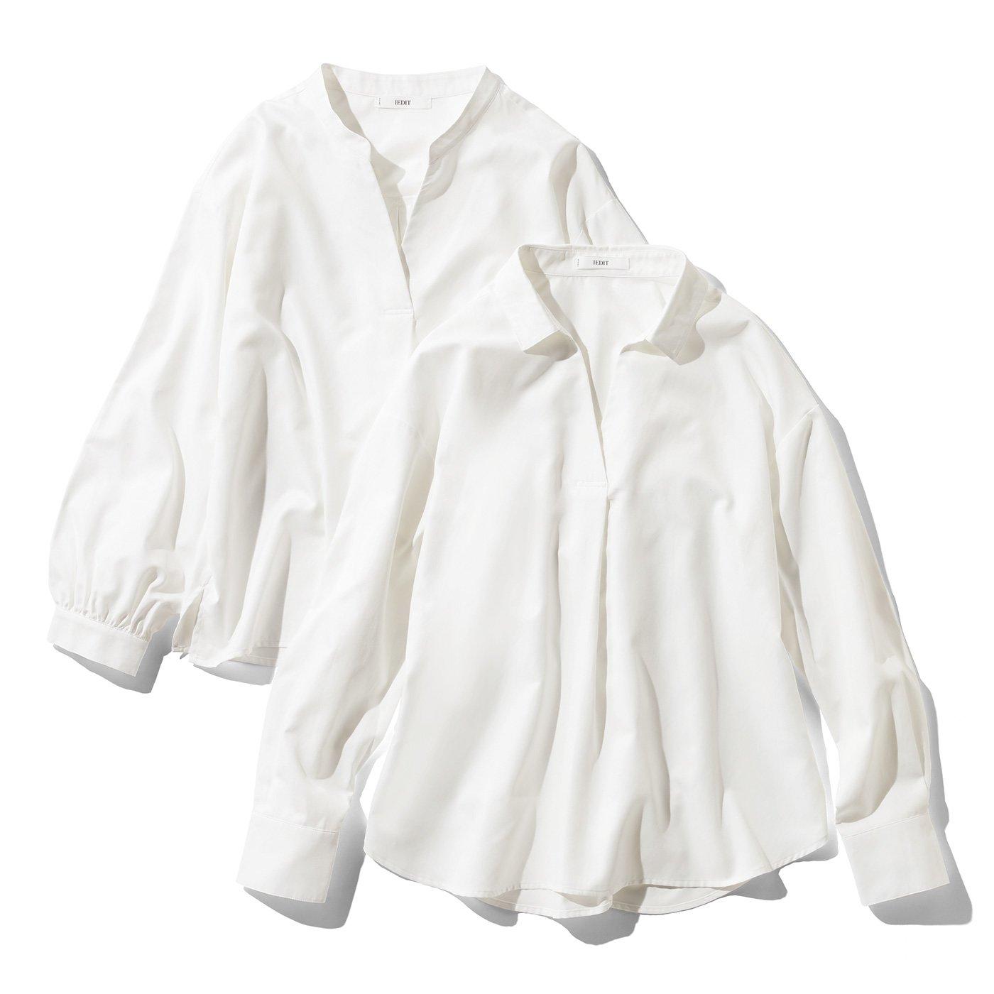 IEDIT[イディット] UVカット&防汚加工!クレバー素材のプルオーバーデザインシャツの会〈オフホワイト〉