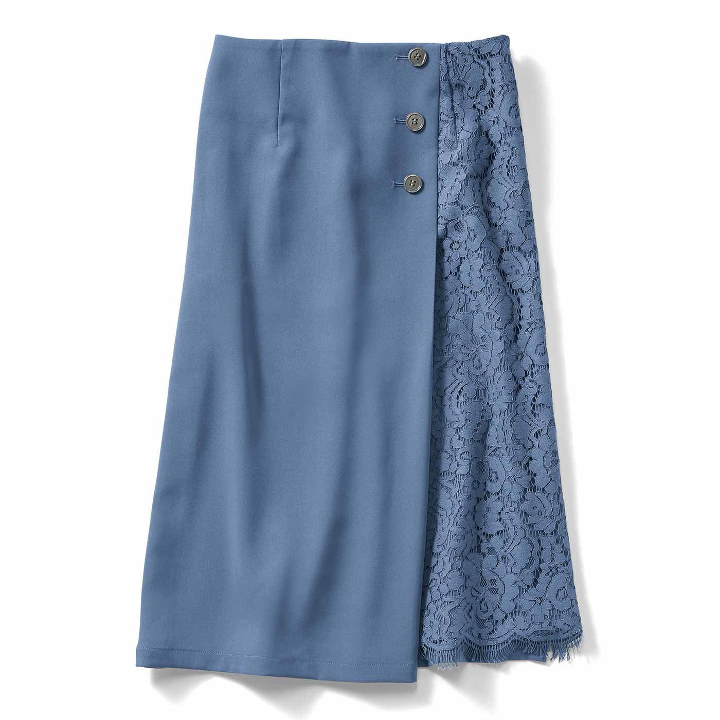 IEDIT[イディット] サイドレースが上品に華やぐ 伸びやかなストレッチスカート〈スモーキーブルー〉