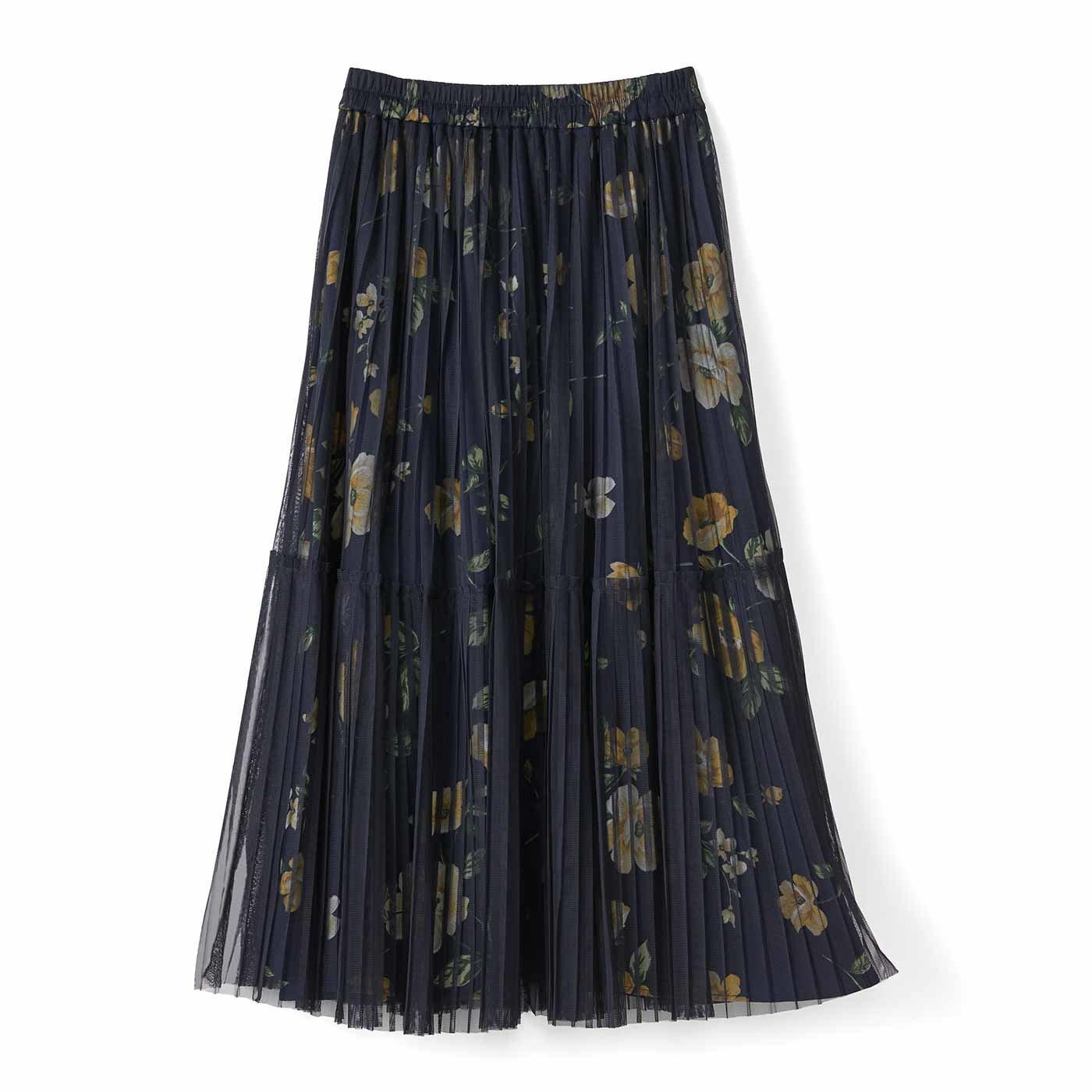 IEDIT[イディット] プリーツチュールを重ねた華やぎプリントスカート〈ネイビー〉