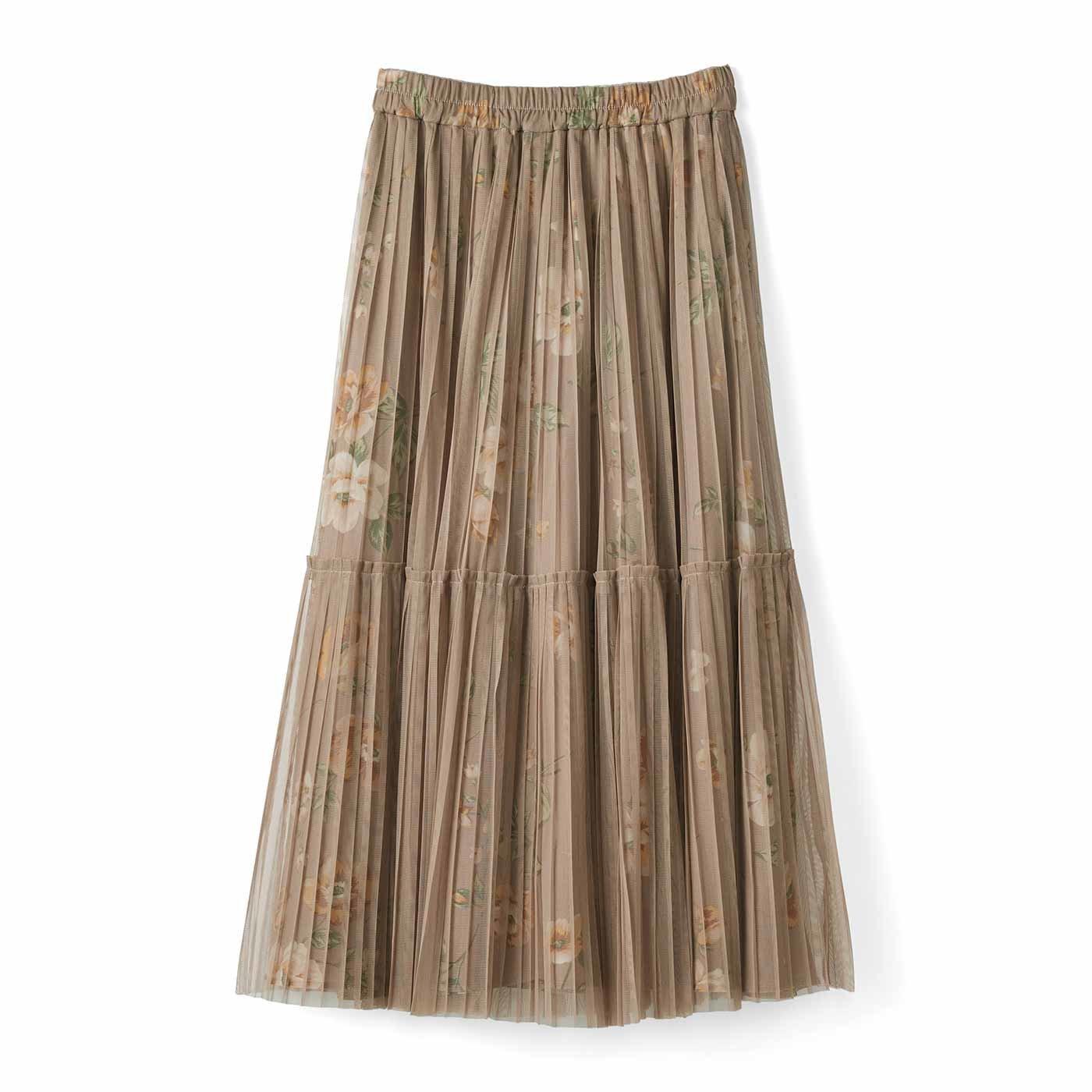 IEDIT[イディット] プリーツチュールを重ねた華やぎプリントスカート〈ベージュ〉