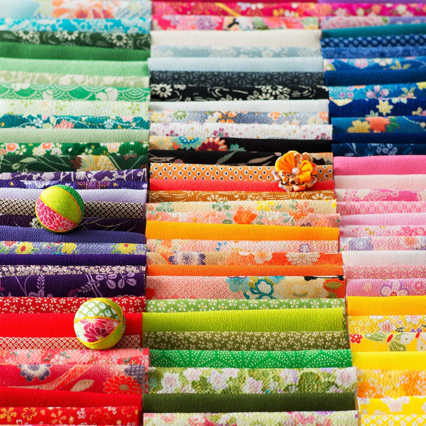 フェリシモ つまみ細工に最適! 華やかな彩りあふれる一越ちりめんカットクロスの会