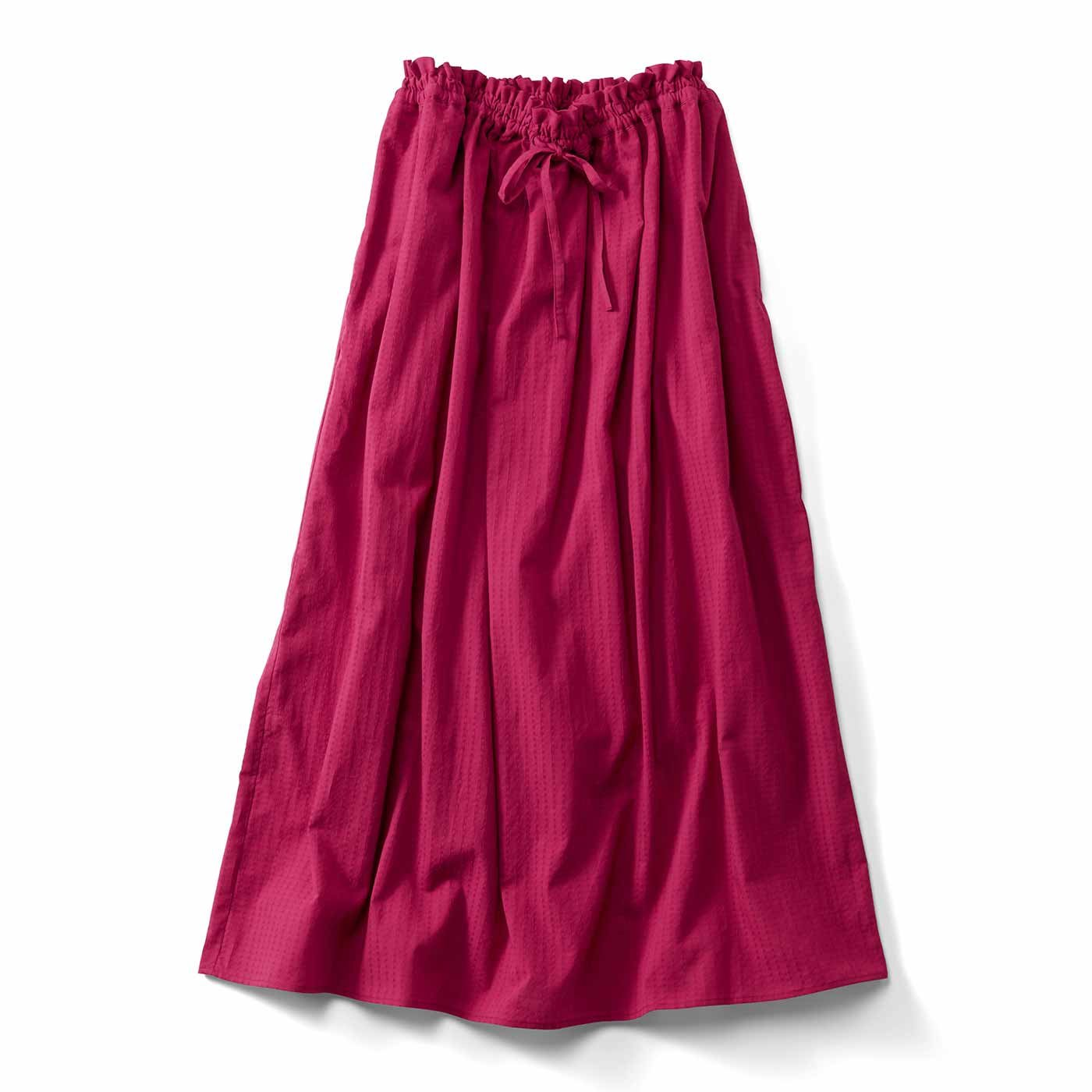 THREE FIFTY STANDARD 赤のドビーストライプギャザースカート