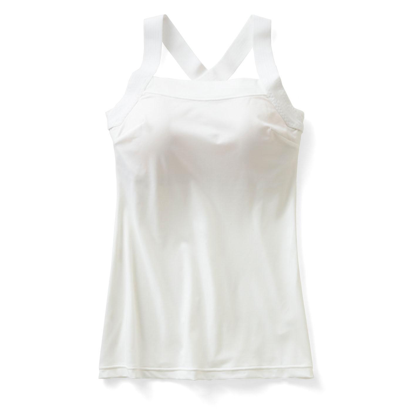 肩甲骨をらくらく意識で背筋ピン! ヨガ気分ブラインナー〈吸汗速乾/ホワイト〉の会