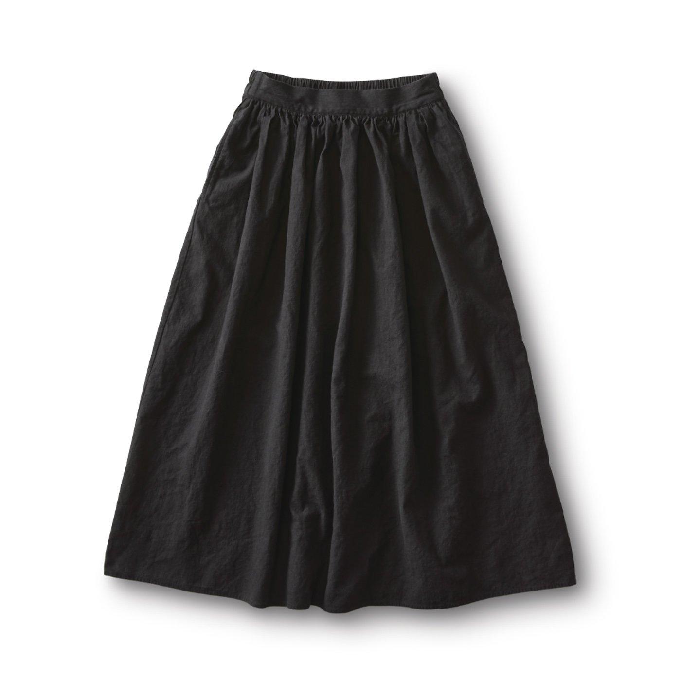 and myera リネン綿のギャザースカート〈黒〉