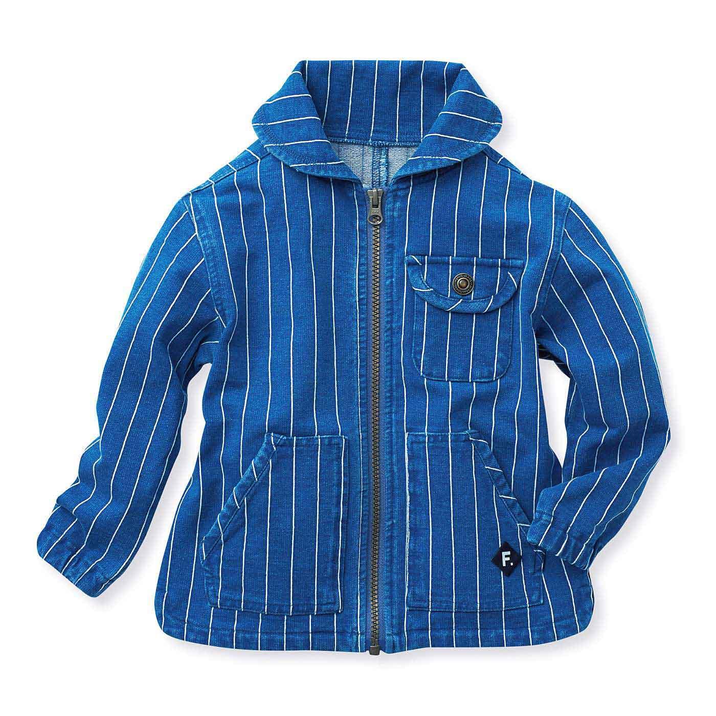 ピンストライプのデニム裏毛ジャケット〈ブルー×ホワイト〉