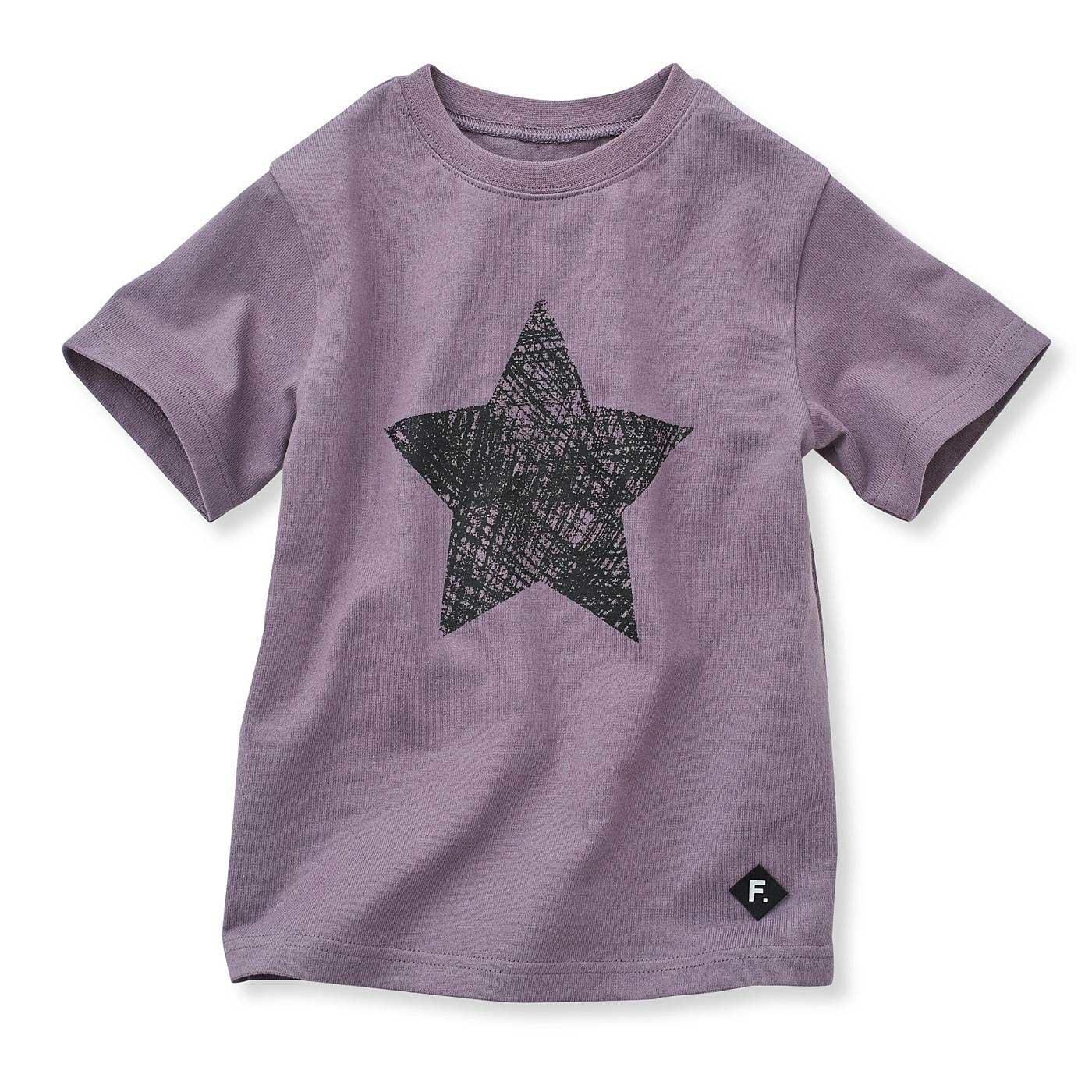 甘編みのバスク風 ゆるりシルエットTシャツ〈パープル〉