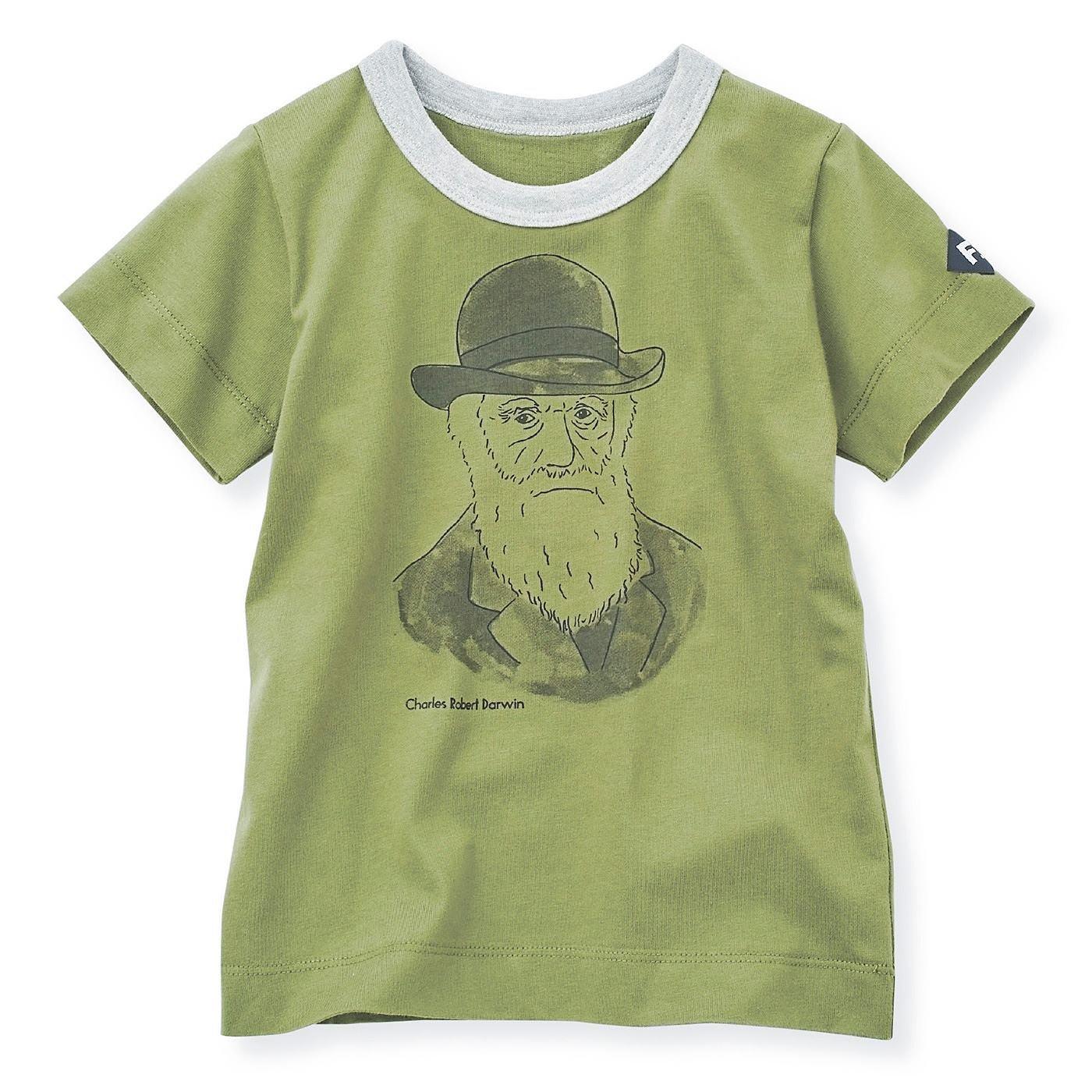 コットン素材のダーウィンを胸にかかげる偉人Tシャツ〈ライトグリーン〉
