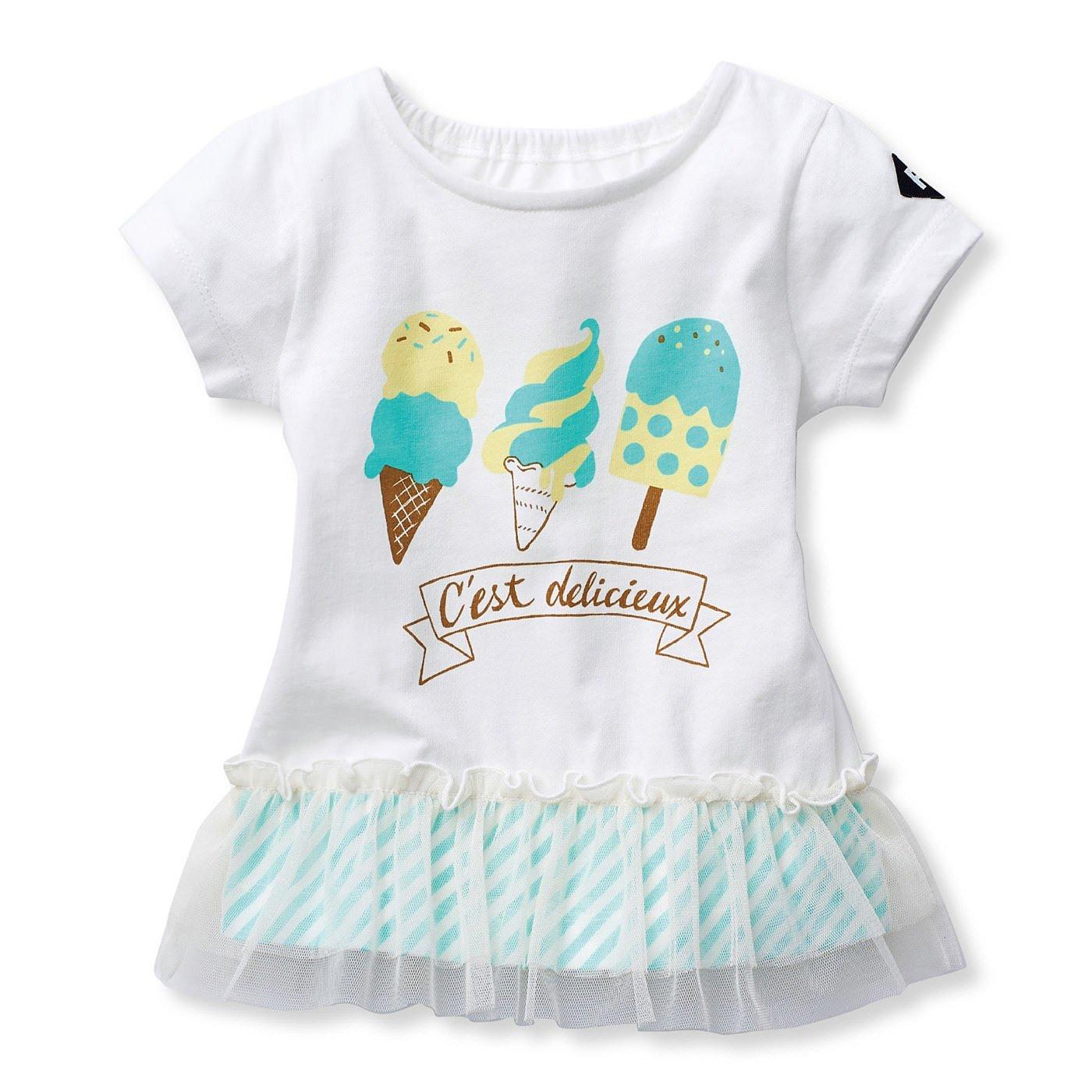 チュールがひらり コットン素材のデリシャスTシャツ〈ホワイト×ミントグリーン〉