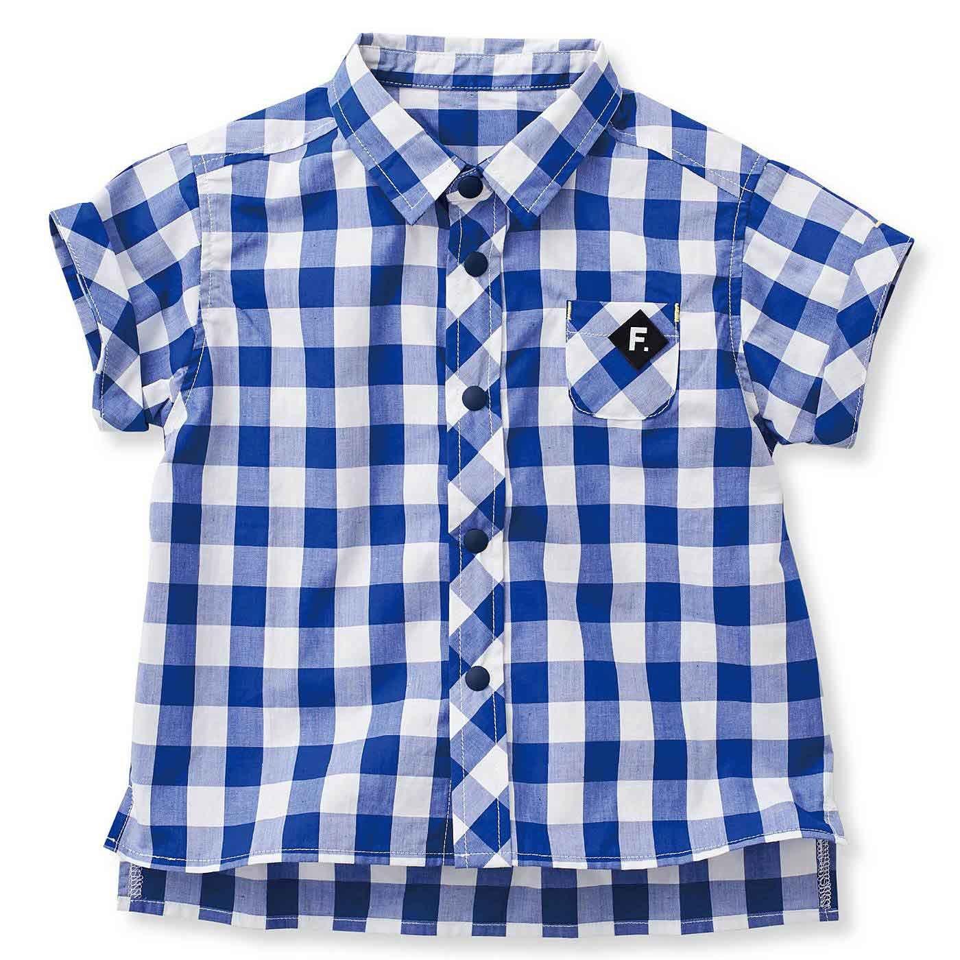 ひとりで着替えやすい ビッグなギンガムのコットンゆるりシャツ〈ブルー×ホワイト〉