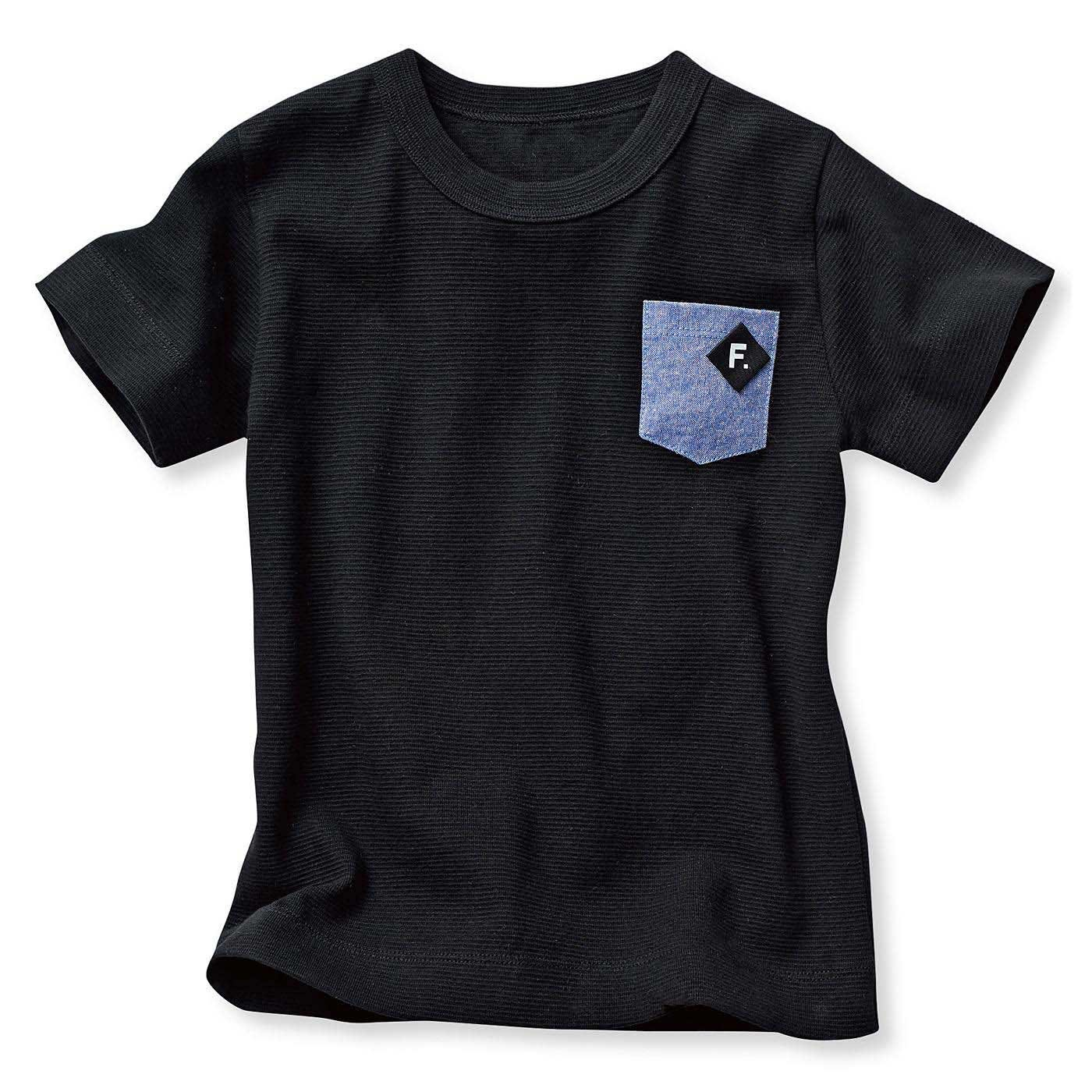 タフで動きやすい ストレッチ変形フライスポケットTシャツ〈ブラック〉