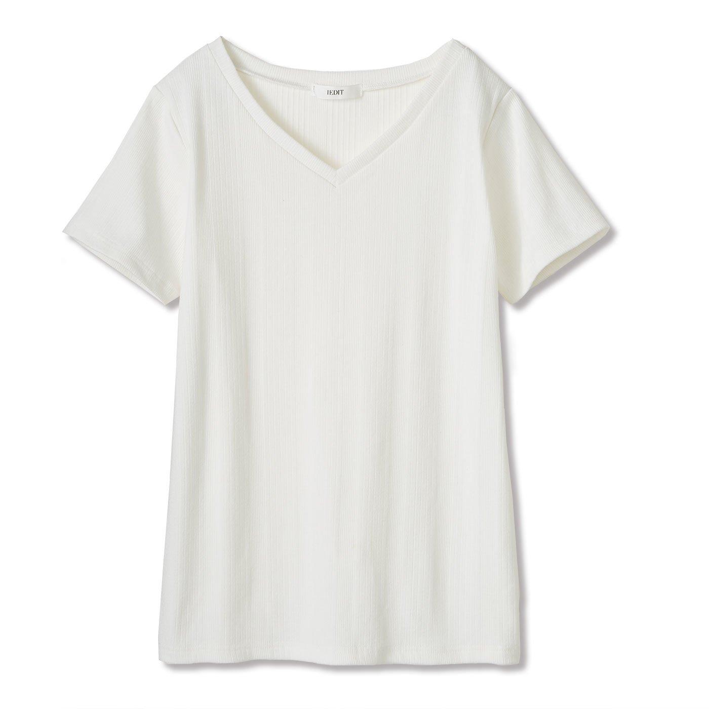DRECO by IEDIT ランダムテレコリブカットソーのヘビロテTシャツ〈オフホワイト〉