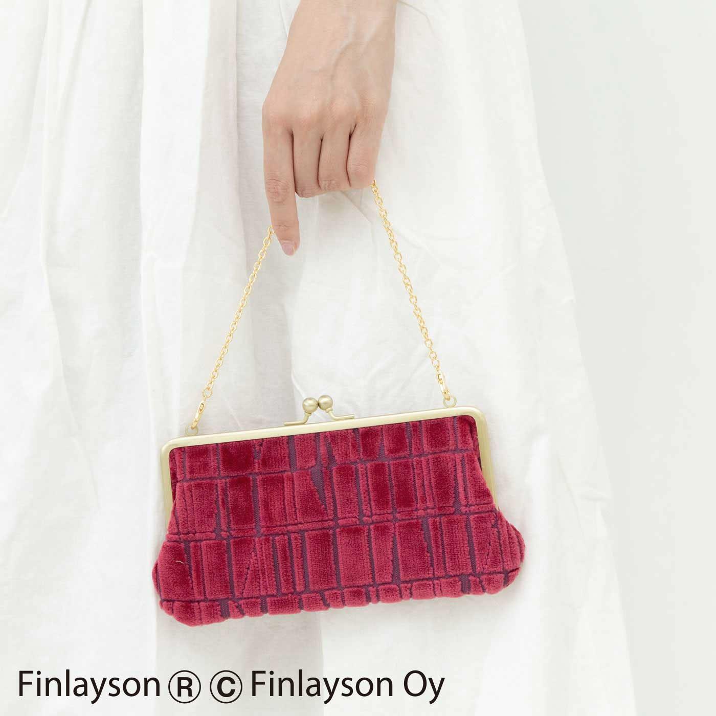 Kraso×フィンレイソン 金華山パイルジャカードの華やか立体織りチェーン付き がま口お財布バッグ〈CORONNA〉