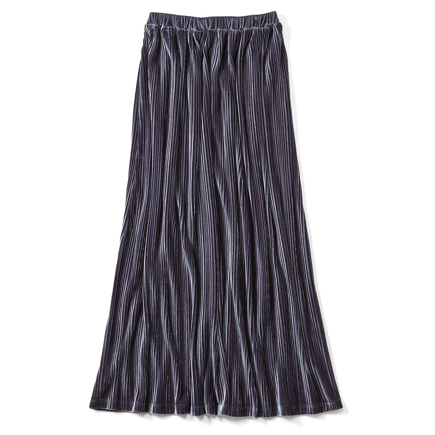 リブ イン コンフォート 栞里ちゃんとつくった いつものカジュアルスタイルをクラスアップ ひらっと軽やか&らくちん 細プリーツスカート〈ネイビーグレー〉