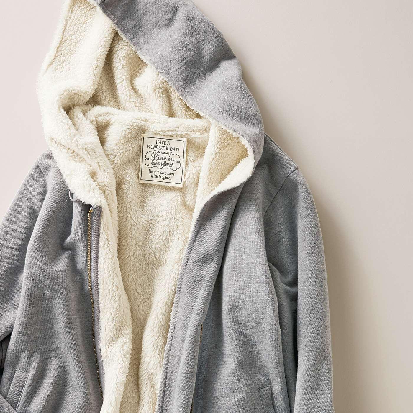 フェリシモ リブ イン コンフォート コート級の暖かさ! オトナ顔の裏ボアパーカージャケット〈杢(もく)グレー〉