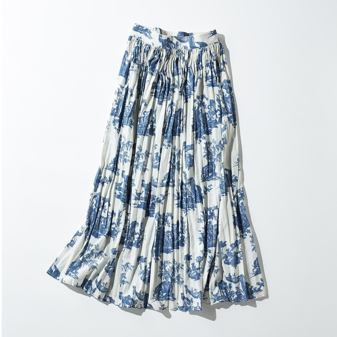 MEDE19F トワル・ド・ジュイ プリーツロングスカート〈グレイッシュネイビー〉