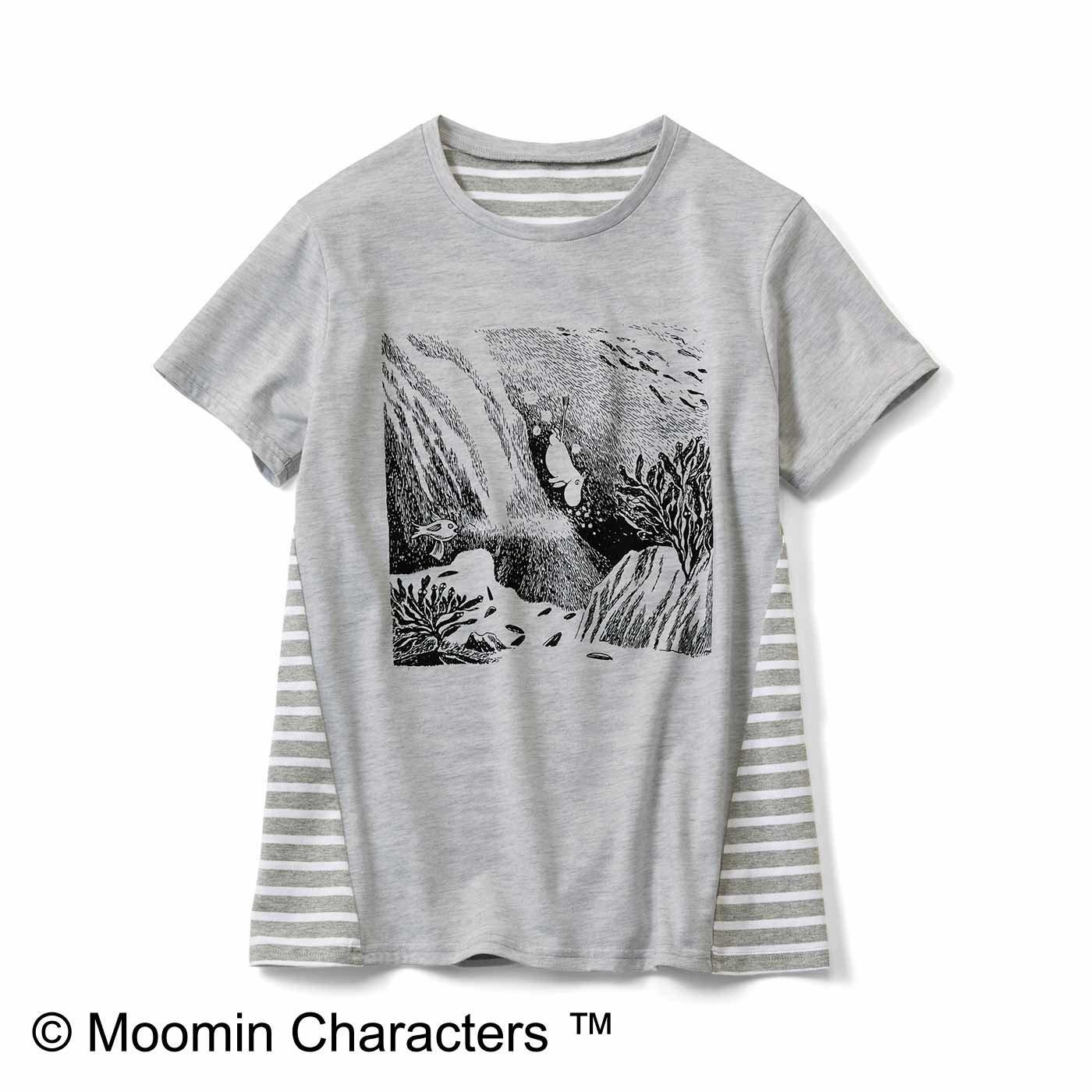 ムーミンと仲間たち 吸水速乾のうしろボーダーTシャツ〈水遊び〉