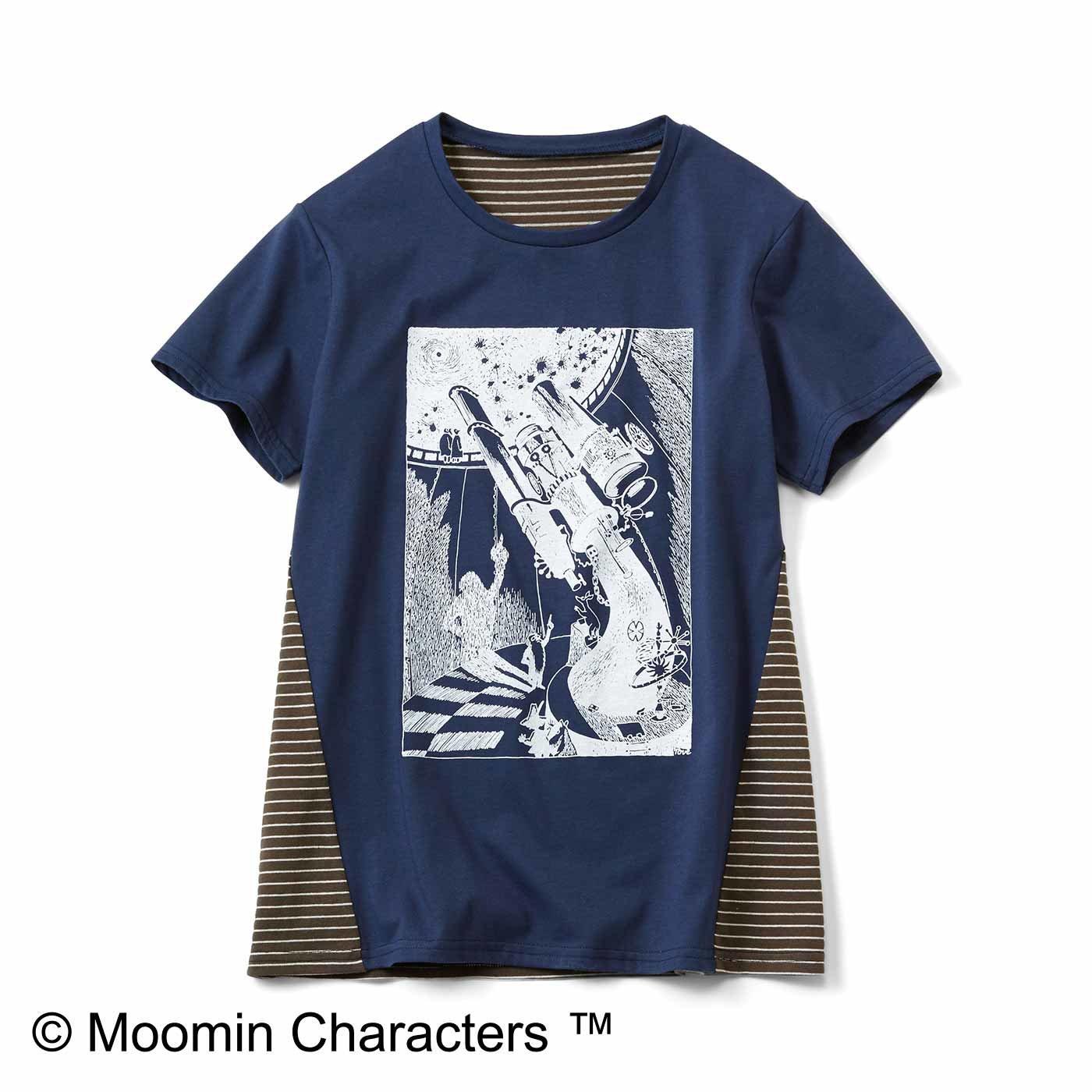 ムーミンと仲間たち 吸水速乾のうしろボーダーTシャツ〈天体観測〉