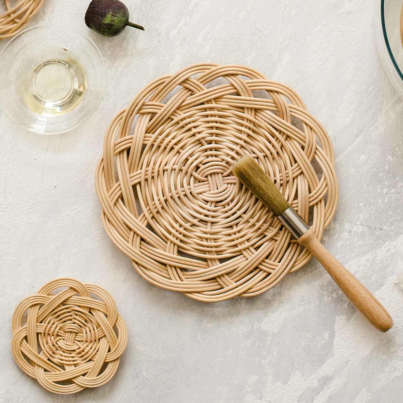 籐編み小物の仕上げに クルミオイルとブラシセット