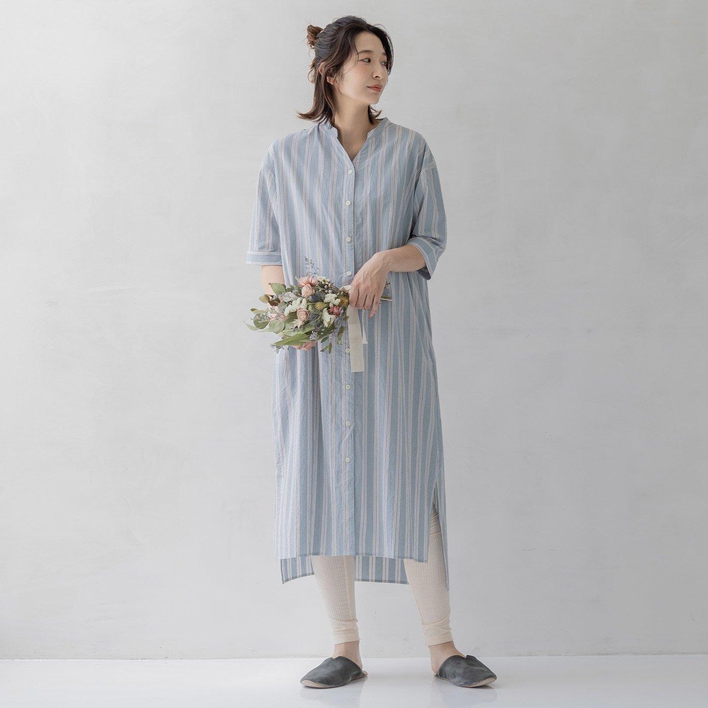 フェリシモMama マタニティから産後も使える 5分袖ストライプワンピースパジャマ〈ブルー〉