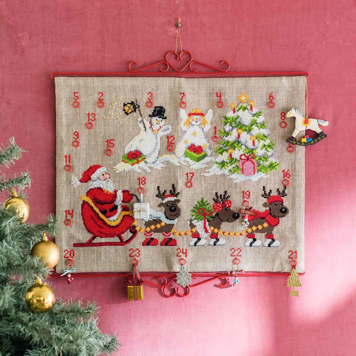 PERMIN クリスマスアドベントタペストリー クロスステッチキット(リネン)