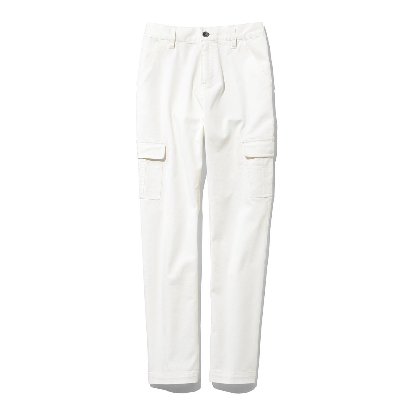 IEDIT パンプススタイルがキレイにキマる すっきりシルエットのカーゴパンツ〈ホワイト〉