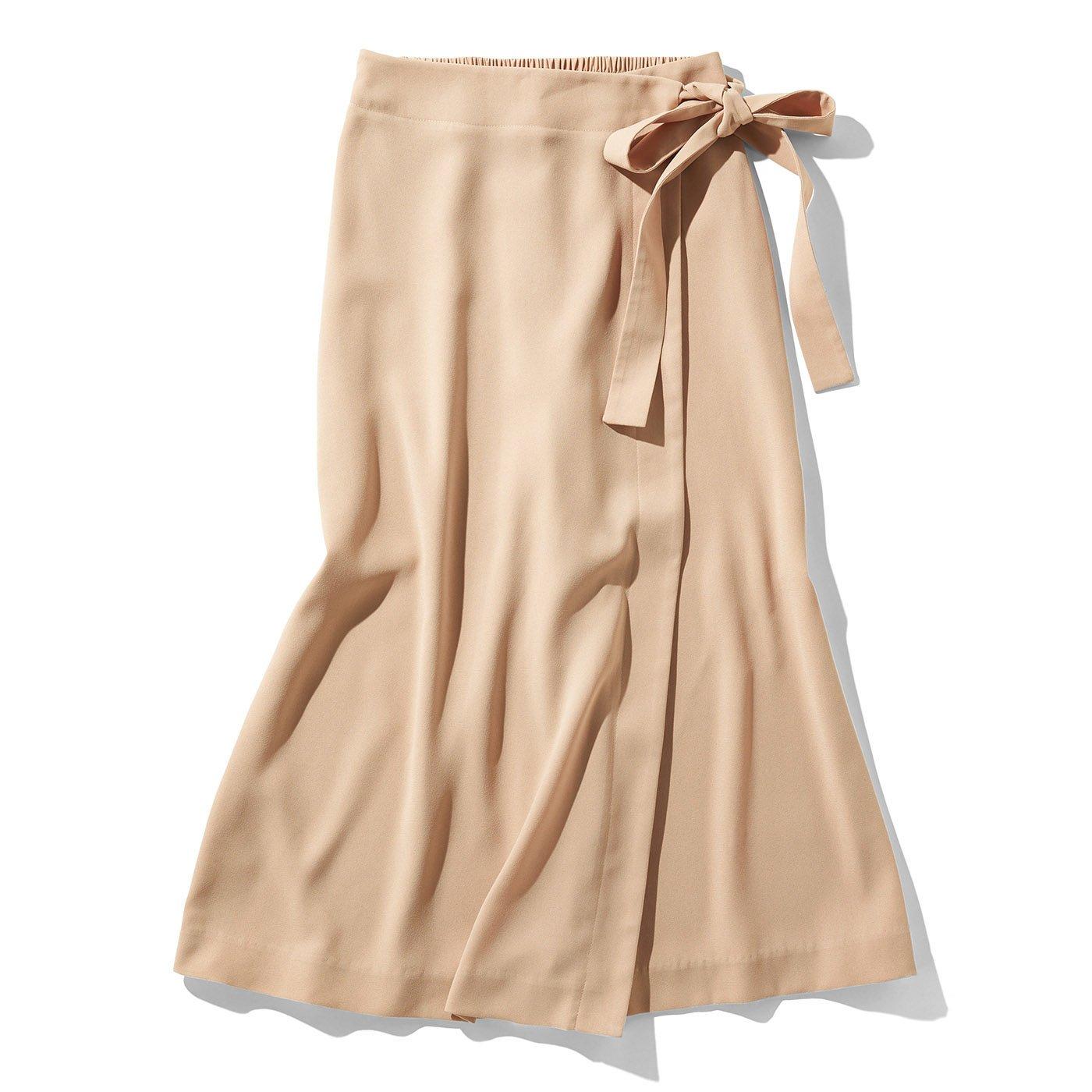 IEDIT サイドリボンのディテールが女っぽいラップスカート風パンツ〈ライトベージュ〉