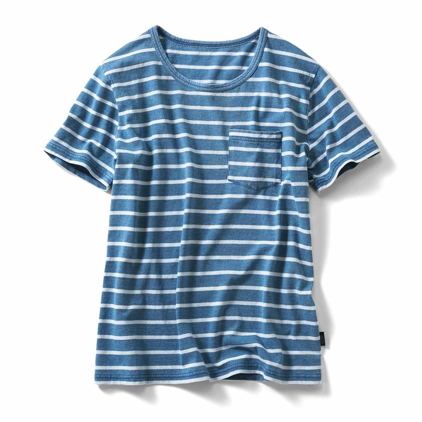 古着屋さんで見つけたような インディゴ染めポケットTシャツの会