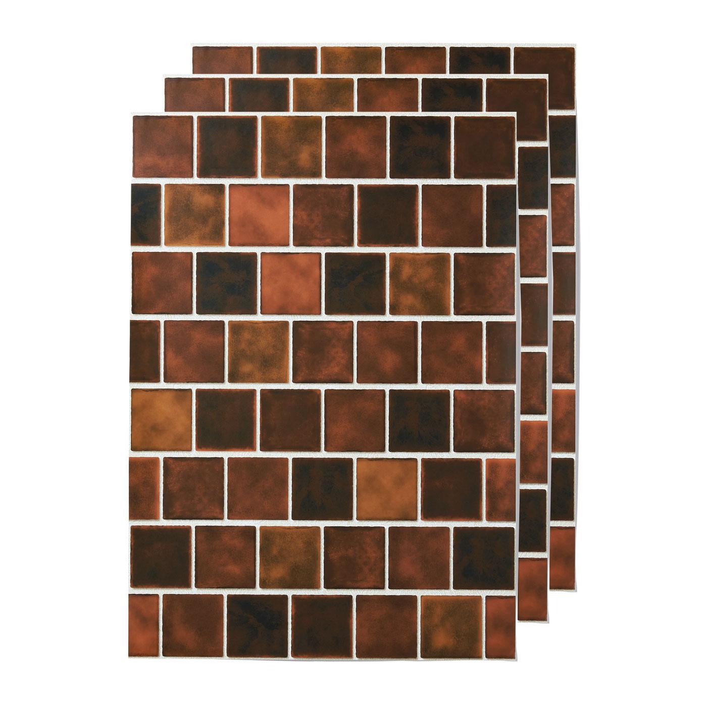 貼ってはがせる 壁紙シール〈ブラウンスクエアタイル〉の会