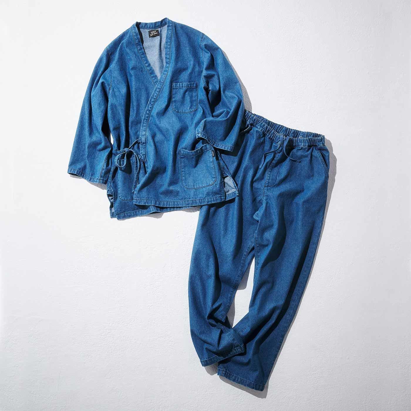 古着屋さんで見つけたような デニムの作務衣〈ライトブルー〉