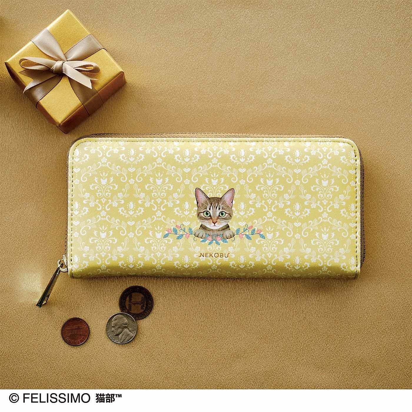 幸運を味方に! キジ猫とまたたび模様のハッピーカラー長財布