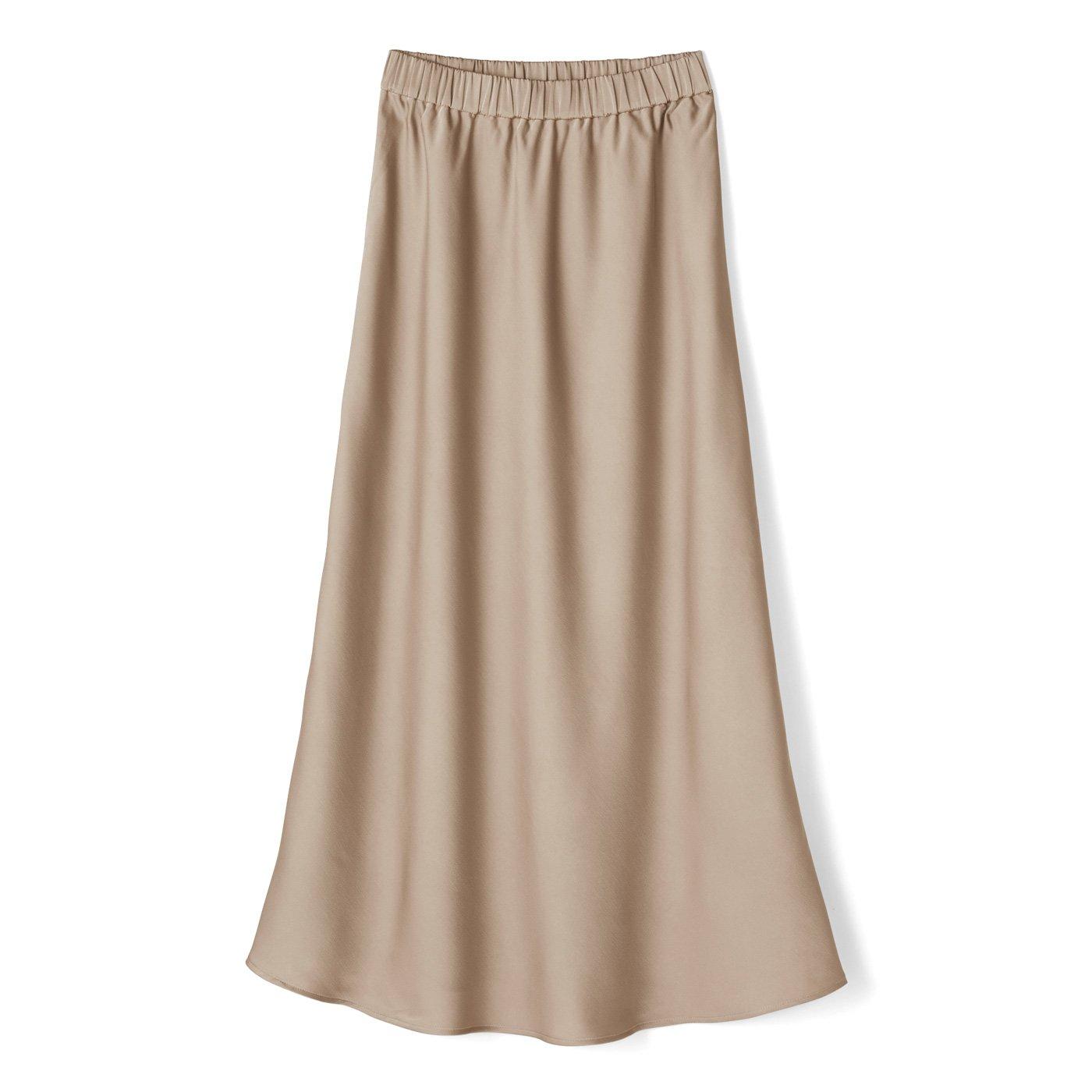 IEDIT[イディット] サテンの光沢が美しいセミサーキュラースカート〈ベージュ〉