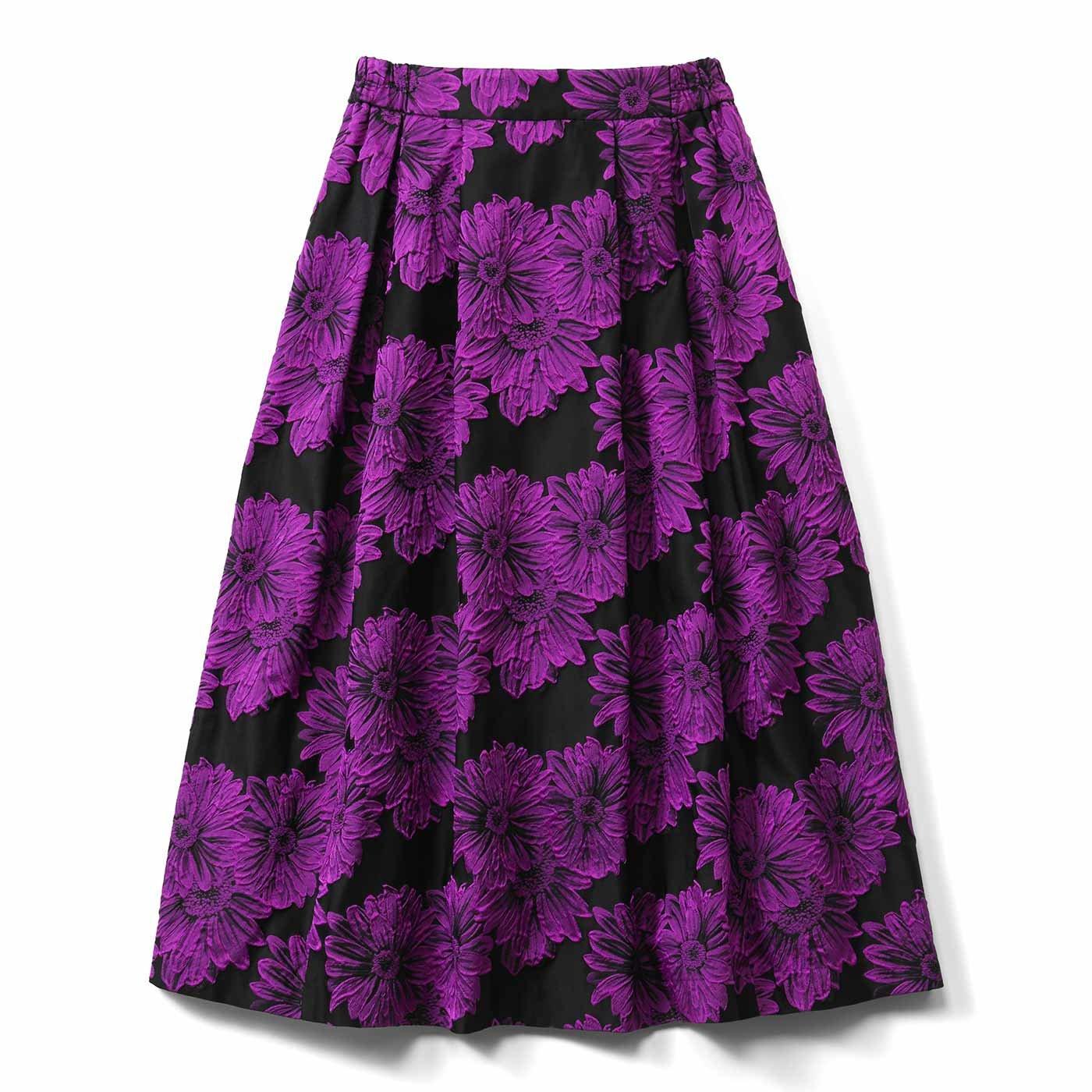 IEDIT[イディット] あったかインナーパンツ付き 華やぎジャカードスカート〈ピンク〉