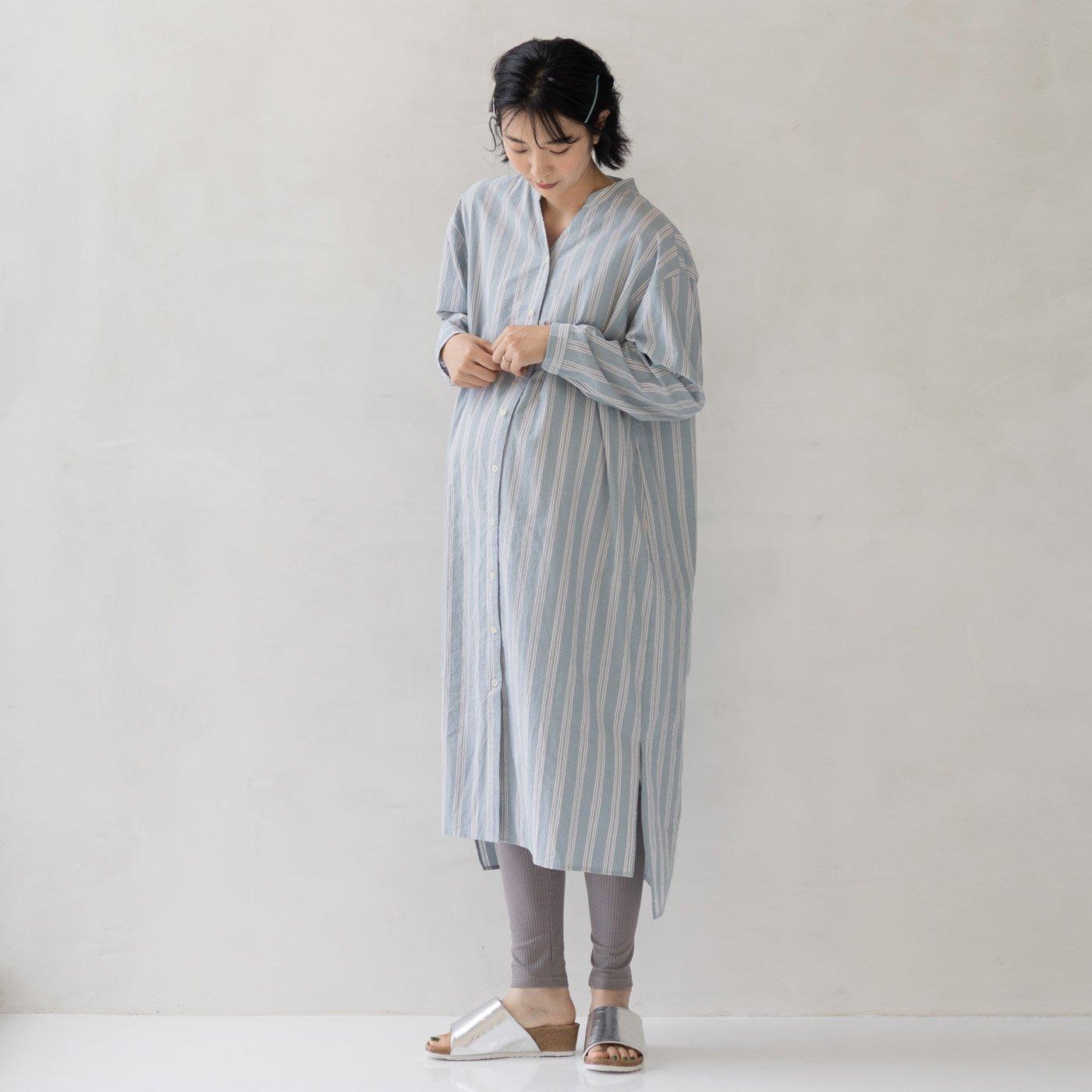フェリシモMama マタニティから産後も使える ママによりそうストライプワンピースパジャマ〈ライトブルー〉