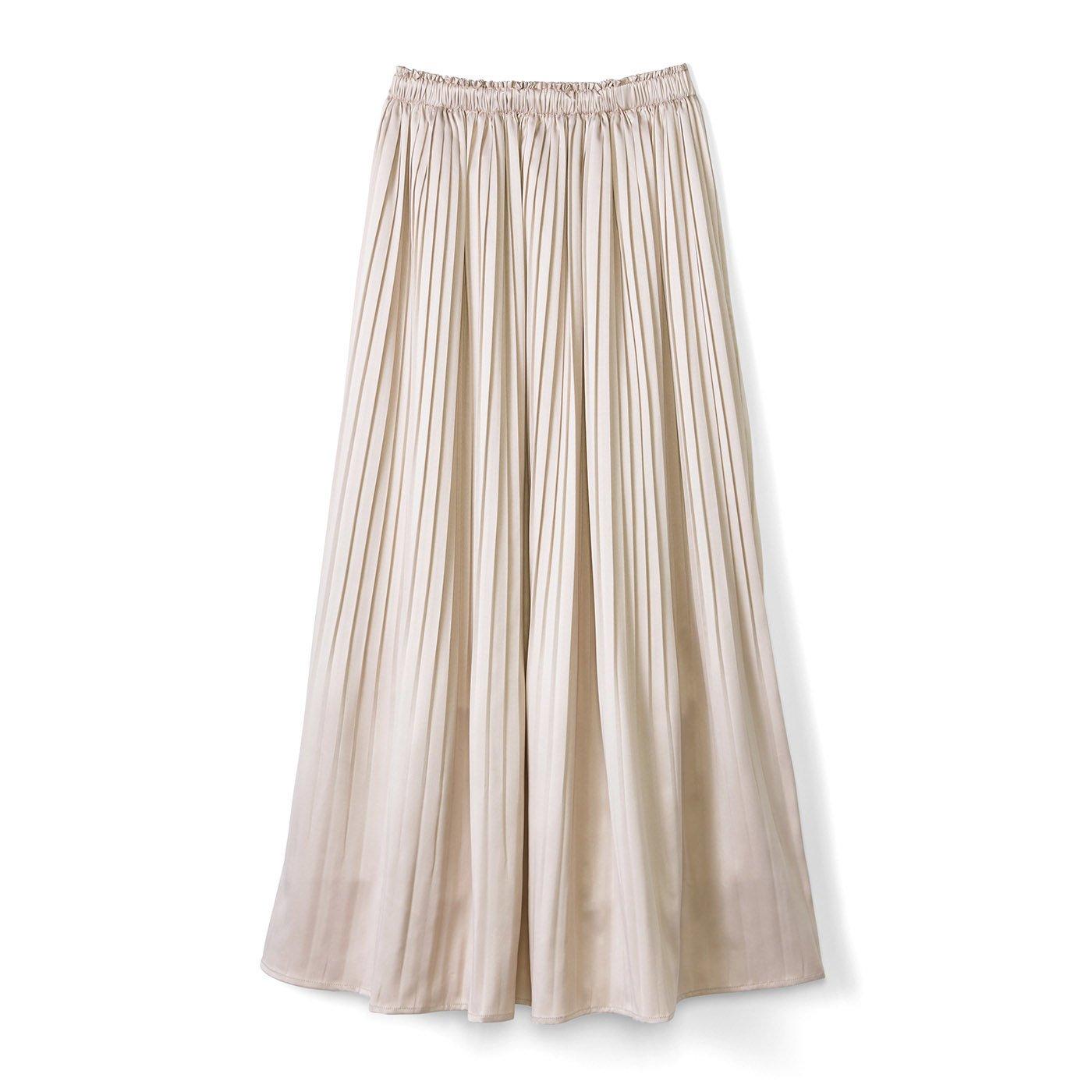 リブ イン コンフォート おとめ心がさらりと揺れる 華やか細プリーツスカート〈ピンクベージュ〉
