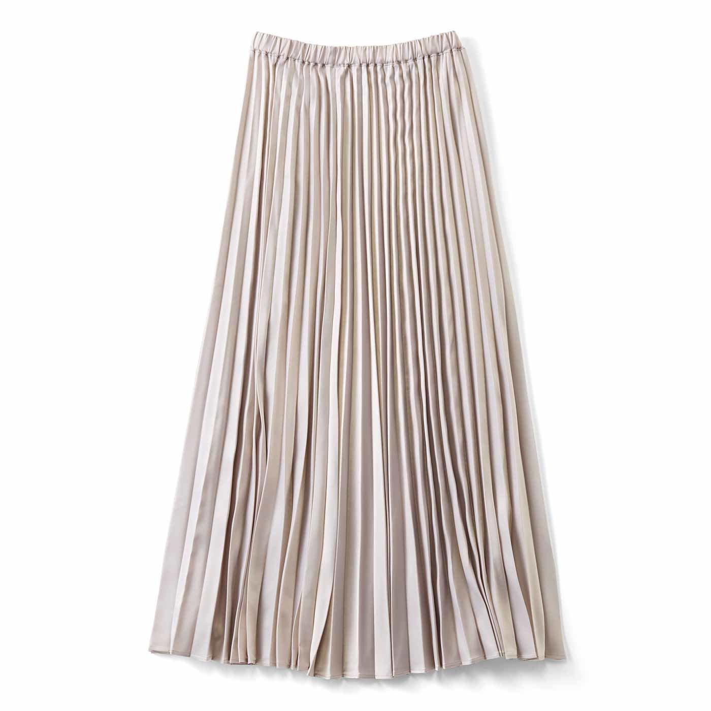 【3~10日でお届け】シルエットがキレイなサテンプリーツスカート〈グレー〉