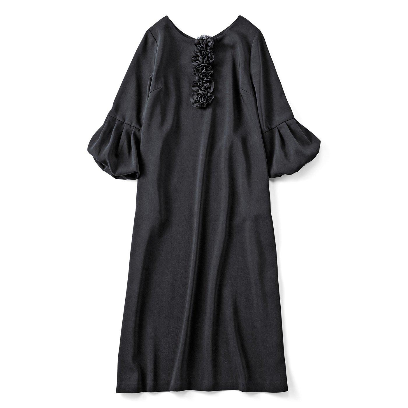 【3~10日でお届け】フラワーモチーフが特別なブラックドレス