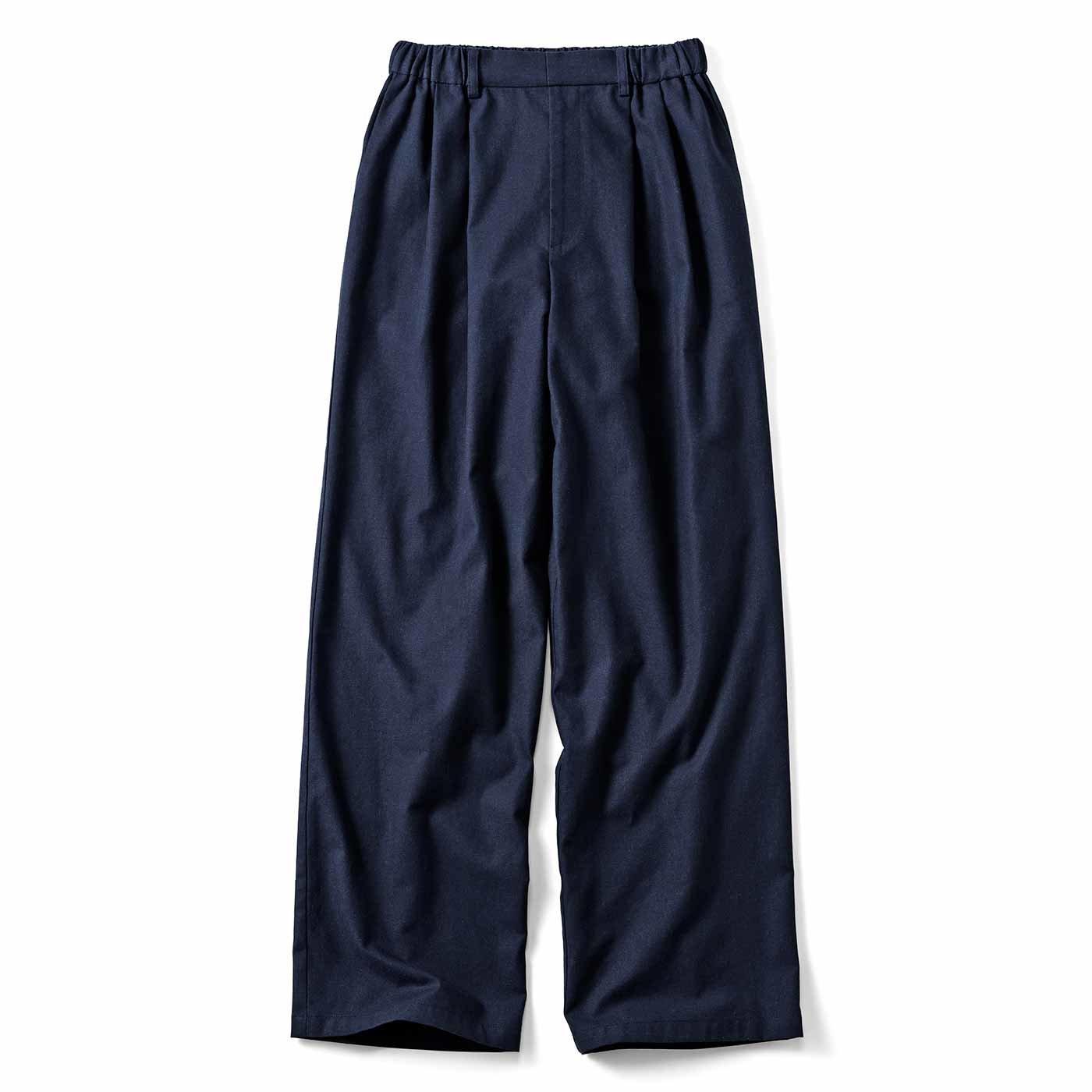 【3~10日でお届け】年中使える フロントタックの麻混パンツ〈ネイビー〉