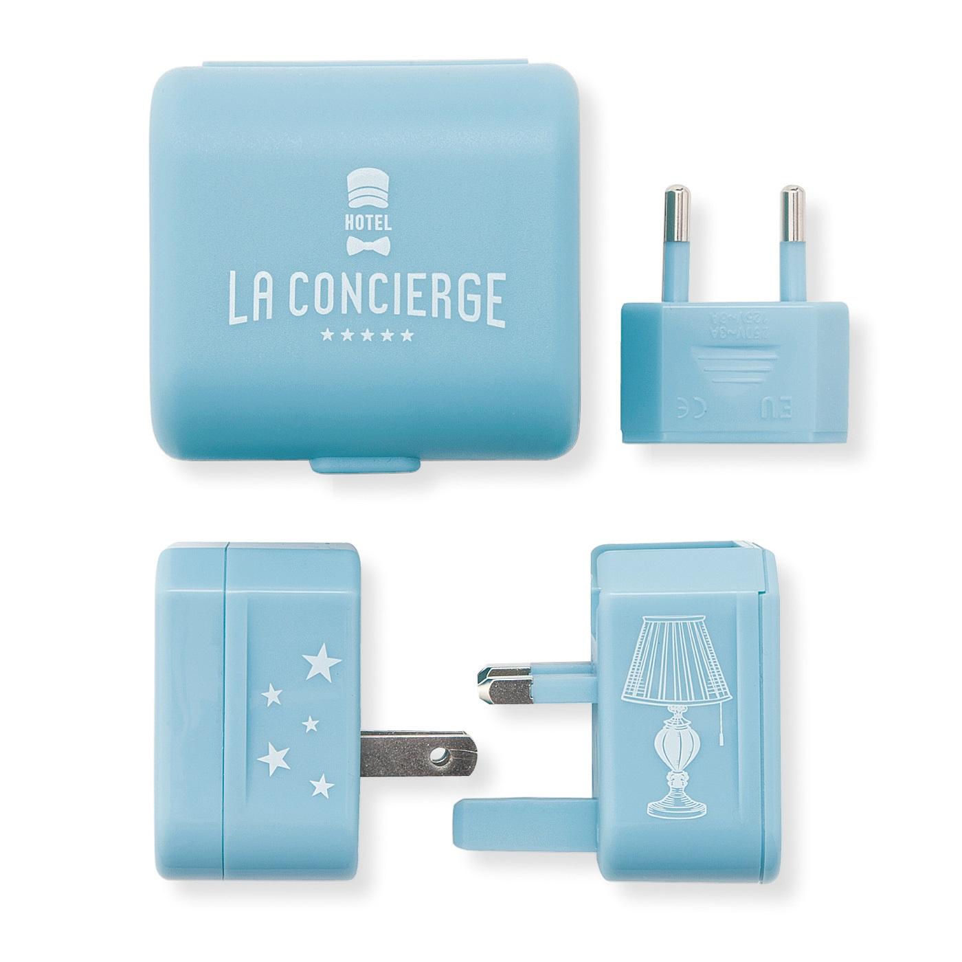 コンセントアダプター ■セット内容/アダプター3種、ケース ■素材/ABS樹脂、ポリプロピレンなど ■サイズ/縦約6cm、横約6.5cm、高さ約4.5cm(ケースサイズ) ※プラグ型:BF型、C型、A型、O型に対応  ※電圧:100V~250Vに対応 ※電圧の変換はできません。 ※日本国内での使用はできません。