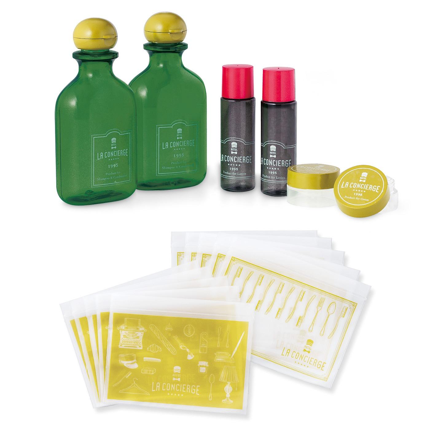 ワイン風詰め替えボトルセット 半透明のジッパーバッグ10枚セット! ボトルや小物を入れて。■セット内容/ボトル(大)(中)・ケース各2個、ジッパーバッグ2種類各5枚 ■素材/ボトル・ケース:飽和ポリエステル樹脂、ポリプロピレンなど ジッパーバッグ:ポリエチレン ■容量・サイズ/ボトル(大):80ml(中):15ml ケース:3g ジッパーバッグ:縦約14.5cm、横約19.5cm